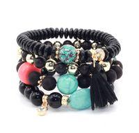 Multilayer Crystal Candy Beads Tassel Bracelets & Bangles Strand Stretch Friendship Bracelets for Women ps0629