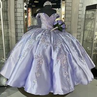 Lilac Sequins Plus Quinceanera Dresses Vestido De 15 Anos Appliques Beads Sweet 16 Dress Masquerade Prom Birthday Party Gown 2021