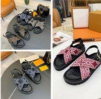 2021 de calidad para mujer zapatillas para mujer Slide la moda de verano Sandalias planas de todo el piso Flip flop con caja de caja EUR35-41