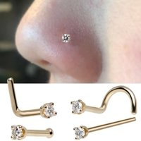 6PCS Surgical Steel Zircon Gem Bone Nose Stud Piercing Earring Anodized Rose gold Color Nose Ring Prong Nose body Jewelry 345 Q2