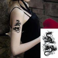 Temporary Tattoos Waterproof Tattoo Sticker Dragon Pattern Body Art Small Size On Hand Arm Flash Tatoo Fake Tatto For Kids Men Women