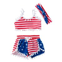 The latest summer design 3 piece set + headband wear tassel kid suit fashion print girl outfit