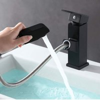 Bathroom Sink Faucets 1 Set Black Matte Pull Out Kitchen Mixer Tap Sprayer Single Lever Faucet For Home Decor Hardware