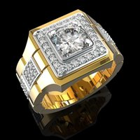 14 k Gold White Diamond Ring for Men Fashion Bijoux Femme Jewellery Natural Gemstones Bague Homme 2 Carats Males
