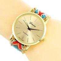 Кварцевый национальный стиль женские часы цвета сплетенные веревка студент пару