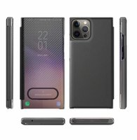 Bling Mirror Wallet iPhone 13 Pro Max 13Mini 2021 Phone13 탄소 섬유 폴드 홀더 하드 PC 소프트 TPU 플립 커버 전화 주머니 지갑