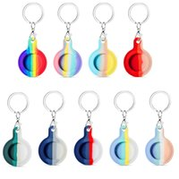 Apple Airtag Silicone Locator Protective Case For Pet Position Tracker Anti-Lost Device Keychain Protect Sleeve Ring Buckle Rainbow Airtags cover