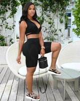 Women's Tracksuits 2021 Summer European And American Fashion Casual Commuting Sexy Slim Sleeveless Shorts Two-Piece Set