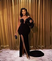 2022 Arabic Aso Ebi Style Black Velvet Mermaid Prom Dresses Sexy Front Split One Shoulder Sweep Train Fomrmal Evening Occasion Gowns Robe De Soiree