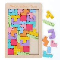 Kreatives Tier Muster 3D Holz Puzzle Tangram Math Toys Vorschulkinder Intellektuelle Bildung Baby Spielzeug