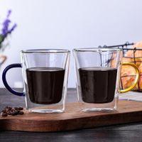 Mugs 300ml 2 Types Double-Layer Coffee Glass Cup Heat Resistant Insulation Mug Tea Drinkware Blue Yellow Handle Tumbler