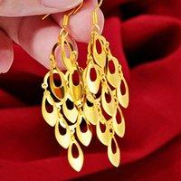 Kvinnors påfågeltacka 24K guldpläterad charmörhängen njge145 mode bröllopsgåva kvinnor gul guldplatta smycken örhänge
