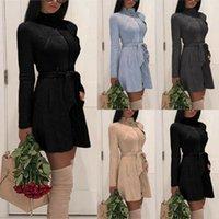 패션 여성 겨울 가을 스웨이드 따뜻한 트렌치 Deerskin 코트 여성 솔리드 포켓 지퍼 긴 트렌치 코트 레이디 오버 코트