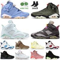 Ayakkabı Nike Air Jordan Retro 6 Jordans British Khaki Jumpman Hare 6s VI Erkek Bayan Basketbol Ayakkabıları Spor Travis Scott Cactus Jack Singles Day Floral Smoke Grey Eğitmenler