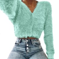 Ladies Knits Tees Furry Sweater Elegant Solid Color V Neck Long Sleeve
