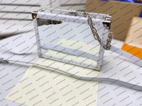 M20233 핸들 트렁크 여성 가방 럭셔리 디자이너 리벳 명확한 투명 박스 모양 상자 메신저 지갑 캔버스 인쇄 휴대 핸드백 어깨 가방 클러치