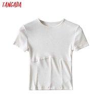 Tangada Women Strethy Crop T Shirt Short Sleeve O Neck Tees Ladies Casual Tee Shirt Street Wear Top 2B24 210609