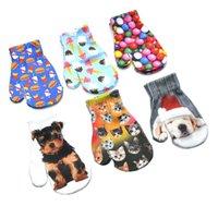 Dzieci Zimowe rękawiczki dla 1-4years Baby 3D Drukowane Wzór Małe Rękawiczki Śliczne Kot I Pies Full Finger Trykot Stretch Mettmy