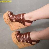 Robe chaussures Ashiofu Image réelle Femmes Wadge Sandales de talon Slingback peep-toe fête d'été de la soirée