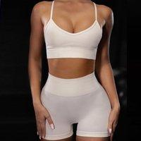 Летний женский трексуит Sexy Supender Shorts Сплошной цвет Спорт Фитнес Костюм Yoga Одежда Костюмы Набор