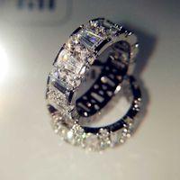 18Kホワイトゴールドナチュラル3カラットMoissaniteジュエリー宝石石のブィーテリアソリッド18 KゴールドAnillos de Ring用女性男性アクセサリー