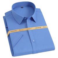 Summer Short Sleeve Men's Stretch Bamboo Fiber Shirts Pocket-less Design Standard-fit Formal Business Solid Basic Dress Shirt 210730