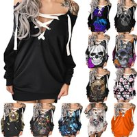 Casual Dresses For Women Ladies Off The Shoulder Sexy Black Cross Long Sleeve Halloween Fall Dress Vestidos De Mujer Ropa