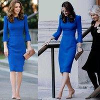 Kate middleton otoño de alta calidad de alta calidad fiesta de la fiesta de moda casual sexy vintage elegante elegante azul manga larga vestido de vestido de lápiz