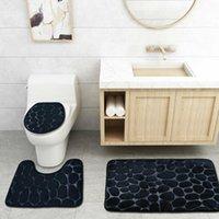Set Bath Bathroom Mat Rug Non Slip Push Toilet Seat Lid Cover Mats