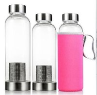 Glass Water Bottle BPA Free High Temperature Resistant Sport WaterBottle With Tea Filter InfuserBottle Nylon Sleeve LLE5670