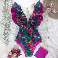 2021 Yeni Seksi Fırfır Baskı Çiçek Tek Parça Mayo Kapalı Omuz Mayo Kadınlar Katı Derin V Beachwear Mayo Monkini