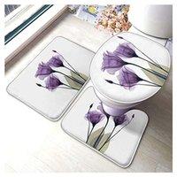 Tapetes elegantes tulip tulip roxo Conforto Flannel Banheiro Tapetes De Conjunto de 3 peças Soft não-deslize com almofada de apoio Tapete de banho + contorno