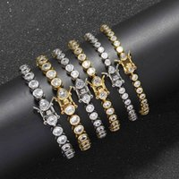 3mm 4mm 5mm Hip Hop Bling Iced Out Round Cubic Zircon Tennis Chain Bracelets Women Men 1 Row CZ Link bracelet Jewelry