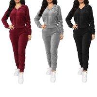 Kadın Kadife 2 Parça Kıyafetler Rahat Uzun Kollu Düz Zip Up Sweatshirt + Jogger Pantolon Set Eşofman Eşofman