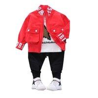 New Spring Autumn Children Cotton Clothes Baby Boys Printed T Shirts Coat Pants 3pcs  Sets Infant Kids Fashion Toddler Tracksuits