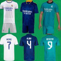 21 22 Gerçek Madrid Futbol Formaları Kısa Ev Uzakta Üçüncü Kitleri 2021 2022 Alaba Tehlike Zidane Benzema Futbol Gömlek Pantolon Camiseta De Futbol Erkekler Kids Setleri