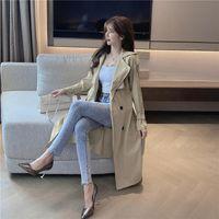 Women's Trench Coats Autumn 2021 Fashion British Windbreaker Loose Medium Length Lace Up Waist Closing Suit Collar Coat