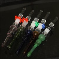 hookahs Mini Glass Nectar Pipe Concentrate Dab Straw Nectars Collector Kit with stainless steel tip Inverted Nail Quartz Tips Oil Rigs Bong