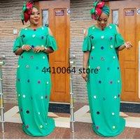 Ethnic Clothing Off Shoulder Summer Green African Dress Women Fashion Dashiki Design Clothes Abaya Dubai Boubou Robe Africa Maxi Dresses