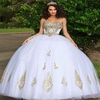 Cinderalla White Quinceanera Dresses With Gold Lace Prom 2021 Corset Women Robe De Soirée Mariage Formal Vestidos 15 Años Abiti Da Cerimonia