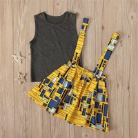 Clothing Sets Summer Two Piece Set Children's Solid Sleeveless Vest Abstract Pattern Braces Skirt Kids Girls Costume