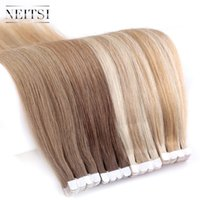 """Neitsi Mini Tape In Non-Remy Human Adhesive Extensions 12""""-28"""" 20pcs Straight Invisible Skin Weft Real Natural Glue On Hair"""