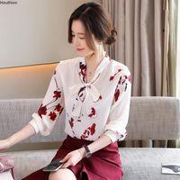 Women's Blouses & Shirts Houthion Silk Fashion Chiffon Blouse Long Sleeve Top Casual Printed Shirt Bow High Street Clothing