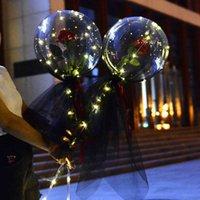 투명 bobo 공 Led 빛나는 풍선 장미 꽃다발 발렌타인 데이 선물 풍선 생일 파티 웨딩 장식 1465 v2