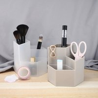 Badrum Förvaring Organisation Kosmetika Organizer Nail Polish Makeup Verktyg Penhållare Rack 3 Gitter Smycken Brush Case Office Desk