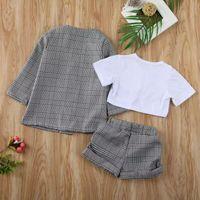 1-6Y infantil Baby Girls Ropa para niños Conjuntos de manga corta Tops Pantalones Plaid Coat Coat Formal Outfit Ropa 3 unids Y200525 87 Z2