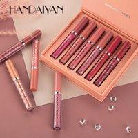 6шт / набор Матовый жидкий набор Длительные увлажняющие палочки бархата красный сексуальный блеск женщин макияж для губ