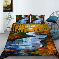 Bedding Sets Duvet Cover Set Lake Printing Bed Linen Oil Painting Bedclothes Girl Boys Home Textiles