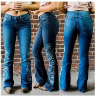 Washed Zipper Fly Jeans Ladies Long Pants Designer Women Embroidery Flare Jeans Summer Light Blue Skinny