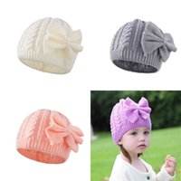 Solid Color crochet knitted winter beanie hats kids girls Twist braid slouchy knit skull caps with big side bow headband hair wraps outdoor ski headwear G99Z91H